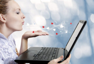 young woman love laptop computer